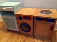 Toy wooden kitchen play house.washing machine/sink/food cupboard!traditional toys.mAke believe