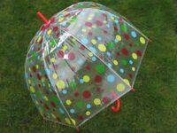 """NEW Ladies 23"""" Dome Brolly Umbrella All Over Spot Design & Red Hook Handle"""