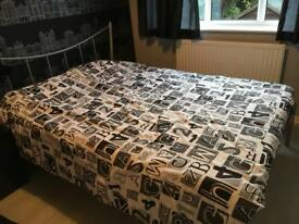 Double silver bed and mattress