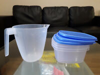 Measuring jug and containers
