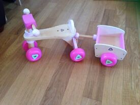 ELC wooden pink trike and cart in FABLOUS condition. £15