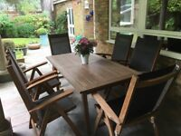 GARDEN FURNITURE TABLE AND FOLDING CHAIRS