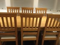Laura Ashley Milton oak dining table and six chairs, excellent condition