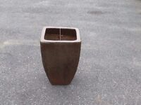 Large Brown Salt Glazed Ceramic Garden Pot - Garden Planter 43cm Tall