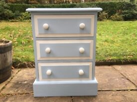 Hand painted solid pine bedside drawers in polar blue & white