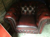 Oxblood leather Chesterfield 3 piece suite.
