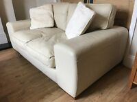 CREAM SCS 2 & 3 SEATER LEATHER SUITE