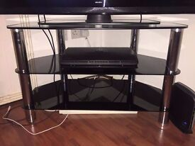 """Black glass TV stand with chrome poles for 42"""" tv"""