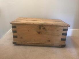 Vintage storage chest retro antique classic trunk wooden