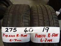 MATCHING PAIR 275 40 19 PIRELLI P-ZERO RUN/FLATS 7MM TREAD £90 PAIR SUPP & FITTED (loads more av}