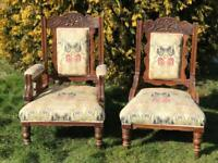 Two beautiful antique parlour arm chairs
