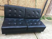 Black leather sofa bed •free delivery•
