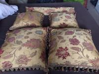 Paoletti Zurich Floral Chenille Tasselled Filled Cushions, Gold,