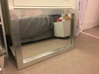 Chunky silver metal frame mirror
