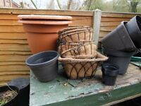 Plant pots and hanging baskets bundle