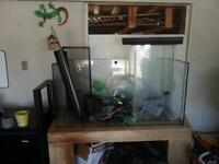 fish tank accessories and broken tank