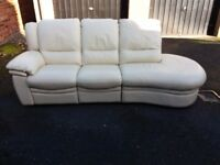 Leather sofa recliner, couch, settee, three seater (free local delivery)