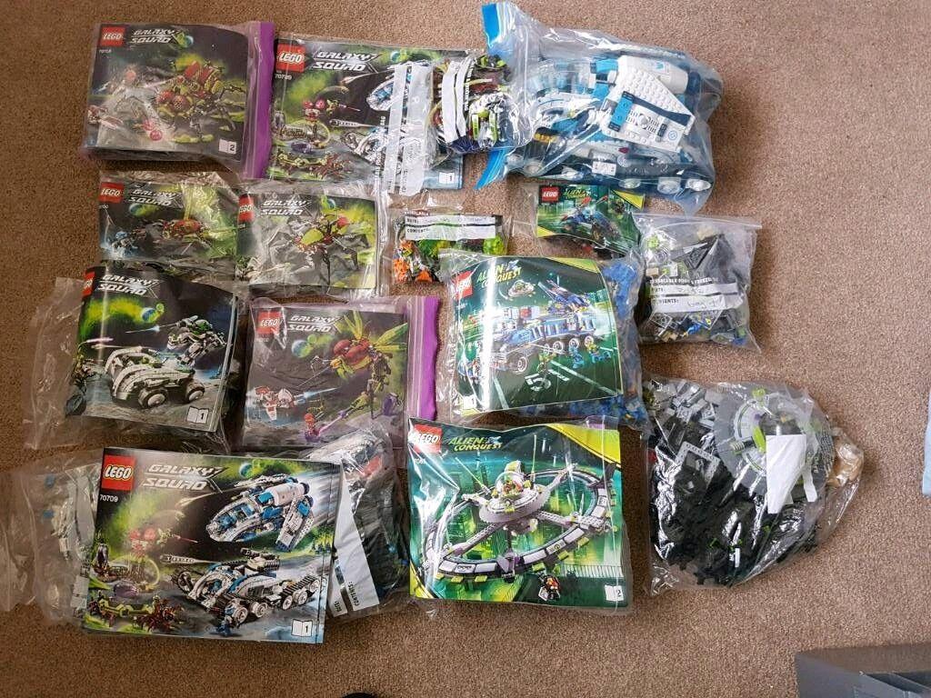 8 Galaxy squad lego sets and 4 alien conquest lego sets