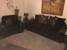 Chocolate Brown Sofa Set in Excellent Condition