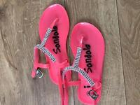 Girls sandals. Coral & white both size 10. £2 each
