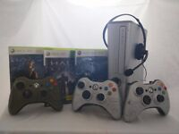 Xbox 360 Halo Reach Edition + Halo 3 and Halo 3 ODST with special controllers.
