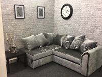 Ice silver crush velvet corner suite Liverpool