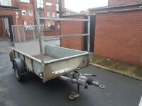 Ifor Williams GD84 single axle braked trailer equipped with ramp, ladder rack and stabiliser
