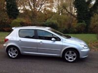 PEUGEOT 307 SXI 2003 MOT 5 MONTHS SERVICE HISTORY HALF LEATHER ALLOY WHEELS AIR CON CD PLAYER