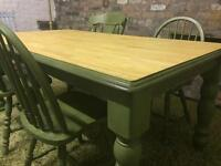 Lovely solid farmhouse dining table and chairs
