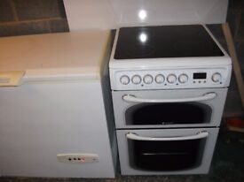 Hotpoint Experience 600 wide white free standing electric double oven with electric ceramic hob.