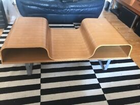 Vintage 60s contoured curved retro coffee table