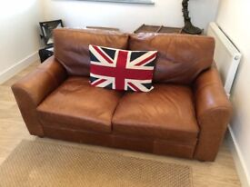 Large Two Seater Tan Brown Vintage Leather Sofa