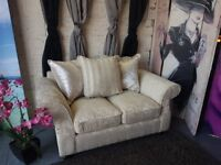 2 Seater Sofa in Cream and Velvet
