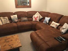 Large corner sofa, colour: tan, 10ft by 10ft