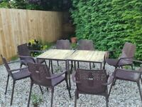 2 Garden table and 12 chairs