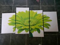 Lime green wall canvas