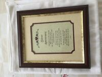 25th Wedding Anniversary framed picture/Verse
