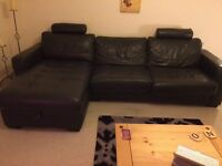 Genuine Italian Leather corner sofa with double pull out sofa bed and large ottoman