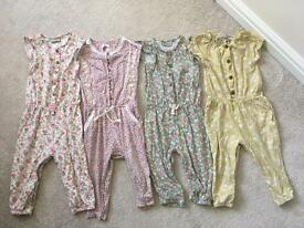 Next 4 Pretty Floral Jumpsuits Bundle 12-18months Toddler Kids Girls Clothing