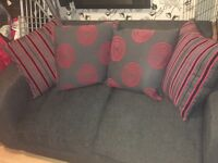 2 seater sofa with 2 matching chairs and pouffe