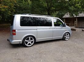 "Vw t5 (t32) factory kombi 6 seats, a/c, 20""alloys, coilovers, rear cab heater, new clutch & altntr"