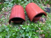 Reclaimed Chimney Cowl Clay Bonnet Chimney Pot Cover Terracotta Colour Original x 2