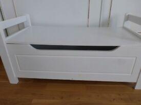 White Storage Bench Ottoman