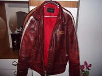 Red leather jacket in fantastic condition for sale. Bought from New York. A great find!