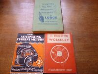 3 rare car books. Wolseley, Autocar Handbook 21st edition, Small Alternating Current Motors. VGC £35
