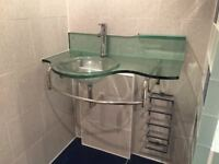 Designer Glass sink, with upstand and towel rail