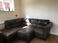 Brown leather corner sofa. DFS. Non smoking home. Very comfortable.