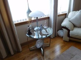 Beautiful side lamp brushed chrome must be seen and matching ceiling light