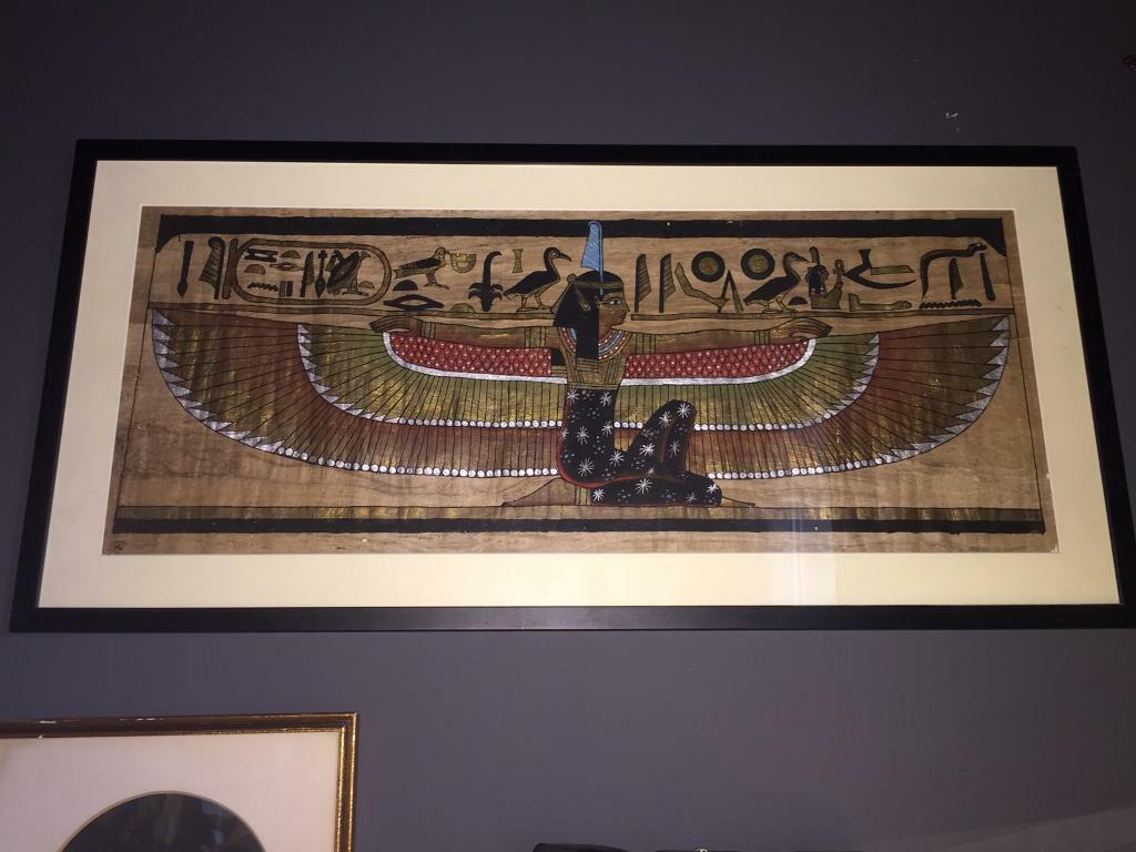 Collection of 3 Vintage framed Egyptian papyrus prints and two Egyptian plaques (art / pictures)