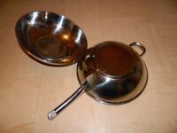 Frying Wok Stainless Steel Pan High Dome Wok & Lid With Handle